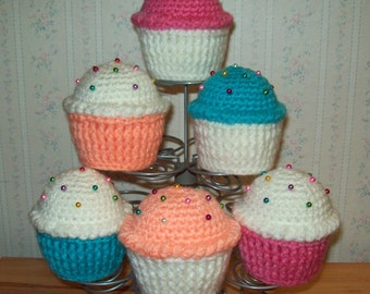 """Crochet Cupcake Pin Cushion with Pins - Choice of Cupcake """"Paper"""" and Frosting Color - (Set #3)"""