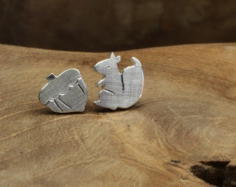 Silver Studs Squirrel with hazelnut, stud earring with forest motif