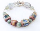 Ancient style clay bead bracelet with fluorite and moss agate gemstones