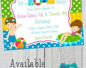 Boy / Girl Pool Party Birthday Invitation Printable- 4x6 or 5x7