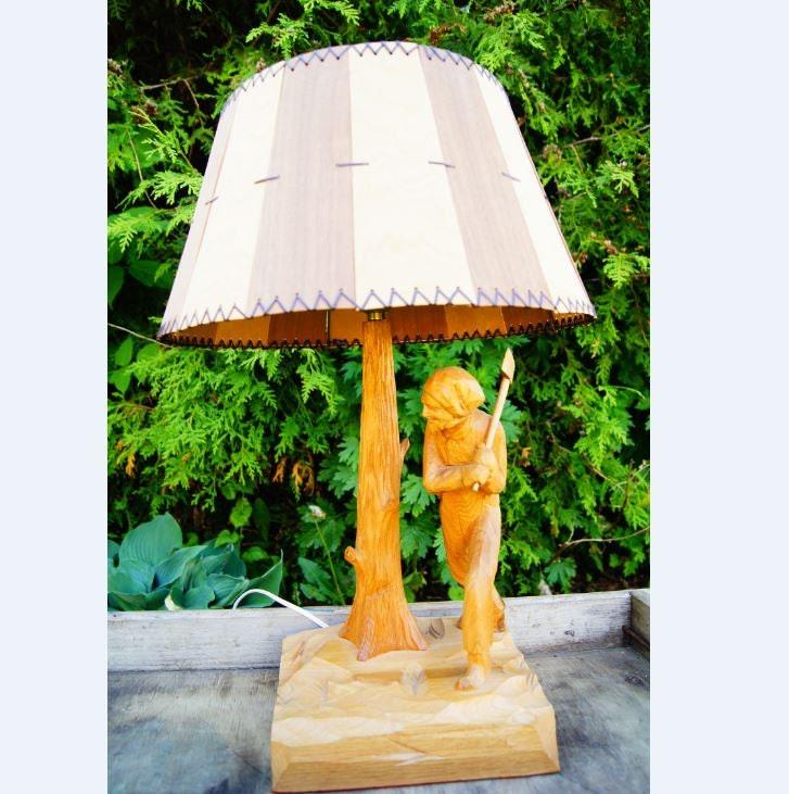 vintage 60s hand carved wood table lamp man chopping wood. Black Bedroom Furniture Sets. Home Design Ideas