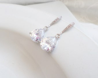 FREE United States Shipping Cubic Zirconia Bridal Earrings With Sterling Ear Wires  Crystal Bridal Earrings Crystal  Teardrop Earrings