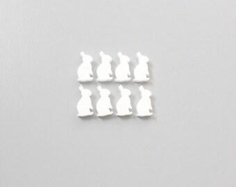 8x laser cut acrylic rabbit/ bunny cabochons