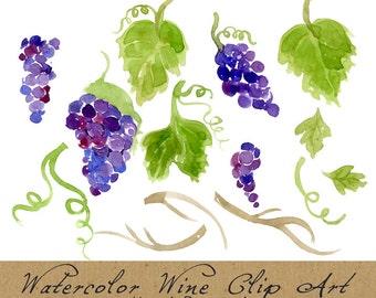 Digital Clipart, Vineyard Clip Art, Watercolor Grapes, Foliage