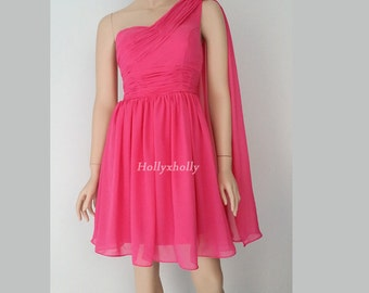 Hot pink bridesmaid dress, Magenta bridesmaid dress - One shoulder