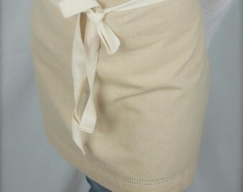 Kitchen apron, Natural Cotton apron,  cafe waist  apron, half apron