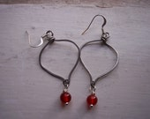 Hammered Stainless Steel and Carnelian Earrings