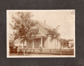 Antique Photo of Young Lady Standing Outside of Her Home