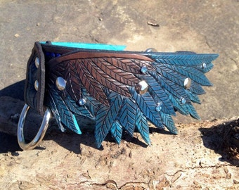 Wing Hand Tooled Leather Dog Collar - Turquoise Liner