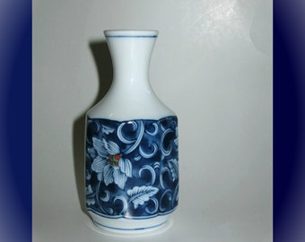 """4.5"""" Tall Blue + White Asian Bud Vase with Flowers"""
