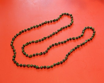 "46"" Marbelized Green, Black + Gold Plastic Bead Necklace"