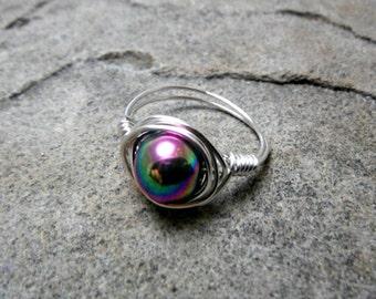 Rainbow Hematite Ring, Purple Hematite Ring, Wire Wrapped Ring, Purple Ring, Wire Wrapped Jewelry Handmade, Hematite Jewelry