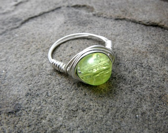 Light Green Ring, Wire Wrapped Ring, Mint Green Ring, Wire Wrapped Jewelry Handmade, Bead Ring, Chunky Ring