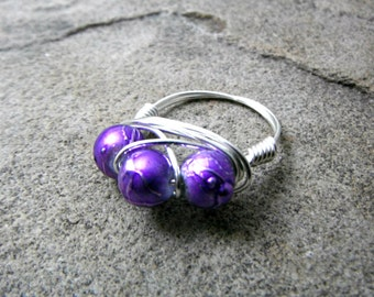 Purple Ring, Cluster Ring, Wire Wrapped Ring, Purple Glass Ring, Purple Bead Ring, Wire Wrapped Jewelry Handmade