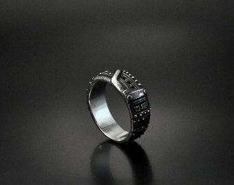 "Silver Unisex Handmade Steampunk Industrial Ring ""Odum"" | Steampunk Silver Band | Unique Silver Band"