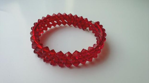 Red Crystal Bracelet, Red Formal Jewelry,  Crystal Memory Wire Wrap Bracelet