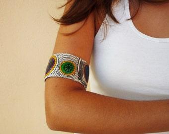 Organic paper upper arm bracelet / Handmade paper jewelery  / Unique handcrafted jewellery