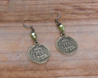 beaded dangle earrings - ancient brass coin reproduction with olive green crystal - bohemian jewelry