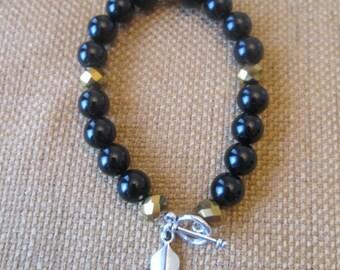 New Orleans Saints Gold and Black Swarovski Crystal Fleur de Lis Bracelet by The Darling Duck