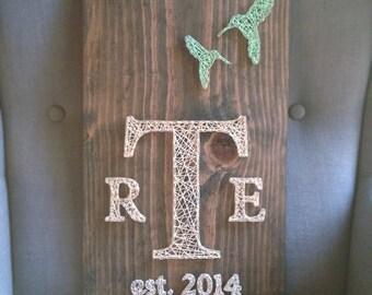 MADE TO ORDER String Art Hummingbird Monogram Sign