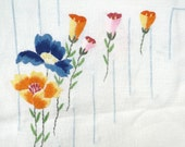 Vintage Linen Table Cloth, Embroidered Table Cloth, White with Blue Yellow Orange Pink Embroidered flowers, Vintage Handmade, Spring, Easter