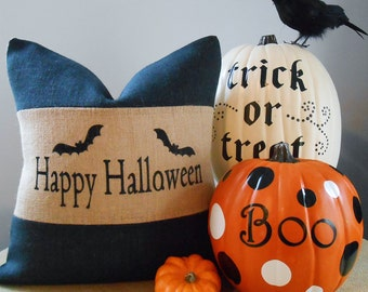 Halloween burlap pillow cover in black and natural burlap 18x18