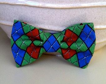 Dog Bow Tie- Green, Blue, Red Argyle