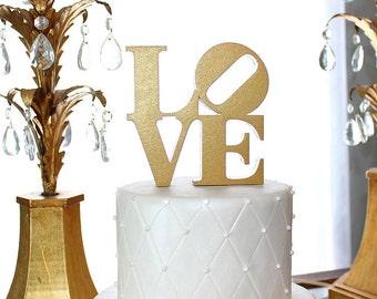 LOVE Cake Topper - Metallic Gold or Metallic Silver