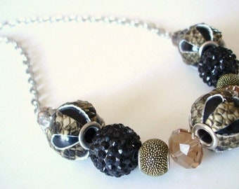 Black and Gold Snakeskin Beaded Chain Necklace