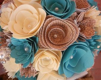 Medium Custom Handmade Paper Wedding Bouquet Bride or Bridesmaids Bouquet ANY COLORS Teal Ivory Burlap