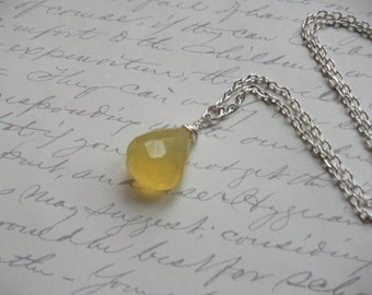 Honey lemon yellow chalcedony drop necklace