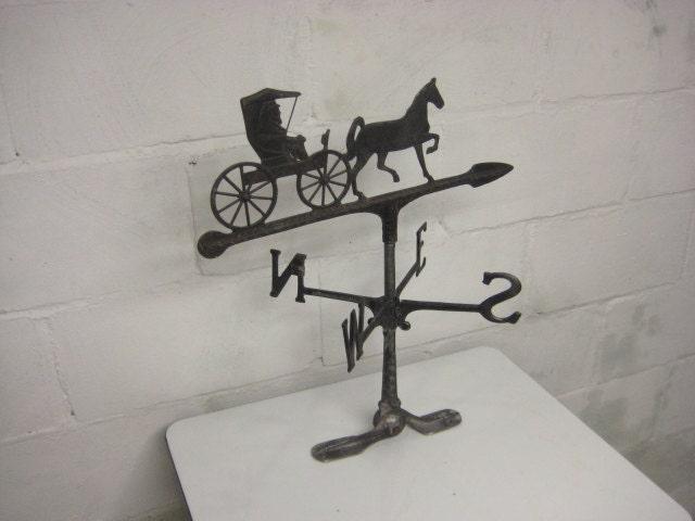 Weather Vane Vintage Black Cast Aluminum Horse And Buggy Old