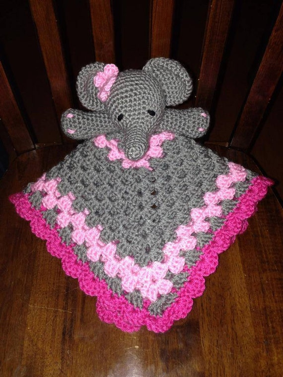 Elephant Lovey Blankie Security Blanket Baby Shower Pink - photo#8