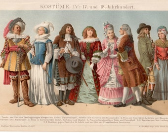 17th Century Costumes, 1894 Antique Print Vintage Lithograph Historical Clothing Illustration 17th Century and 18th Century European Fashion