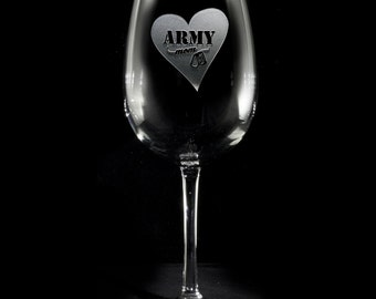 Army Mom Wine Glass, Proud Army Mom, Military Mom Gifts