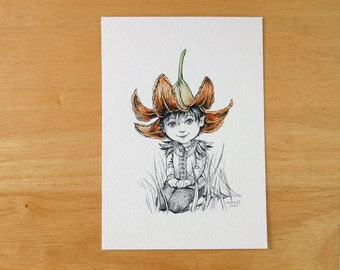 "Original Art, Pen and Ink Drawing with Watercolor, Flower Fairy Artwork, Whimsical Illustration, ""Summer Hat"" by Laurie A. Conley"