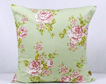 20x20, pillow, throw pillow cover, Decorative Throw pillow, English Rose, Sage Green, throw pillow , Floral pillow, case, 20 inch, handmade