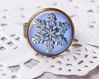 Snowflake ring,  Adjustable Ring, winter ring, snowflake, christmass time, christmass gift idea