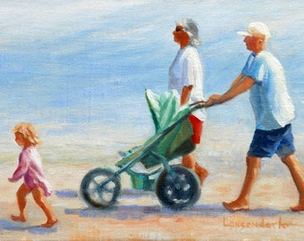 BEACH STROLL, an original oil painting by DJ Lanzendorfer