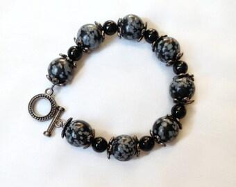 Black Grey Obsidian Onyx Bracelet, StrandzJewlery
