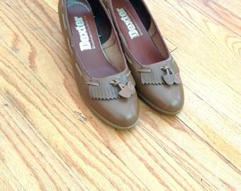 Vintage 1970s Dexter Wedge Heels 1970s Wedges Brown shoes