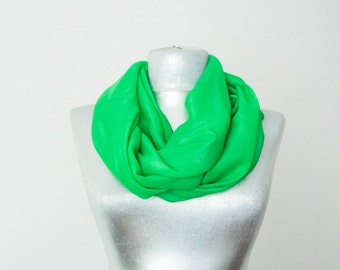 Scarf Handmade Scarf Spring Scarf Infinity Scarf Chiffon Scarf Green Scarf Summer Scarf Chiffon Scarf Soft Scarf Lightweight Scarf For Her