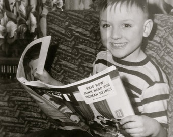 I Read The Post - Cute Little Boy Reading The Saturday Evening Post Snapshot Photo - Free Shipping