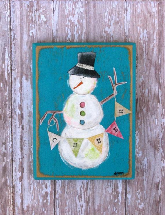 Snowmen christmas decorations mixed media snowman wall art banners