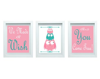 We Made a Wish Girl Nursery Art Owl Nursery Decor Girl Bedroom Decor Pink Teal Blue Art Home Decor Set of 3 - 8x10 Prints Chooser Your Color