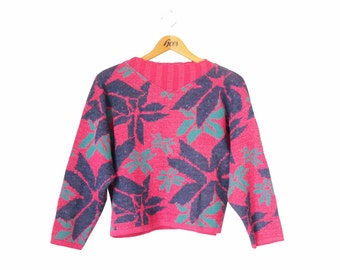 90s cropped sweater, pink hipster tropical jungle abstract jumper, 80s bad taste floral knitwear S M L / Pull années 80-90 rose à motifs