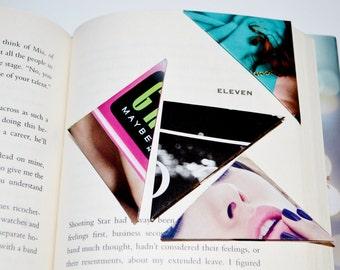Repurposed Colorful Fashion Magazine Origami Corner Bookmarks (Assorted 10-Pack)