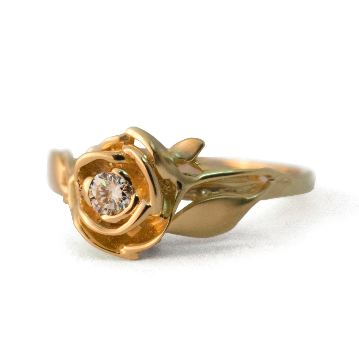 Rose Engagement Ring No 3 18k Yellow Gold And Diamond