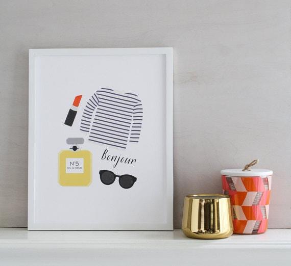Jual Wall Art Print : Items similar to paris art print bonjour wall room