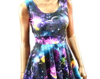 UV Glow Galaxy Print Scoop Tank Fit and Flare Skater Skate Dress Rave Festival Clubwear -E8100